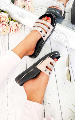 View the Shani Studded Chunky Strappy Sliders online at iKrush