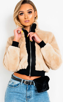 View the Shelby Faux Fur Bomber Jacket online at iKrush