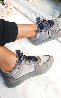 View the Shilo Faux Suede Ribbon Trainer online at iKrush