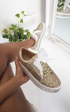 View the Sia Glitter Emebellished Flatform Trainers online at iKrush