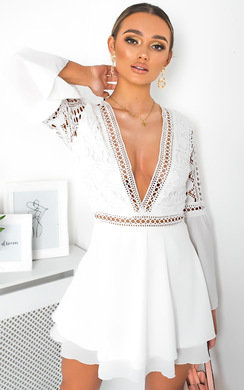 View the Sienna Crochet Lace Floaty Dress  online at iKrush