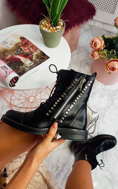View the Sienna Lace Up Studded Biker Boots online at iKrush