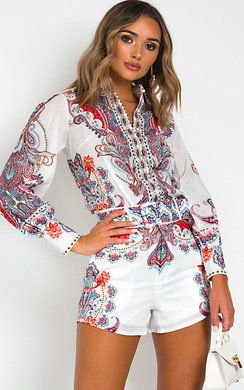 View the Sienna Paisley Shirt and Shorts Co-ord  online at iKrush