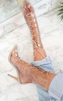 View the Sigrid Perspex Lace Up Heeled Boots online at iKrush
