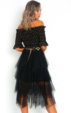 View the Sigrid Tulle Polka Dot Midi Dress online at iKrush