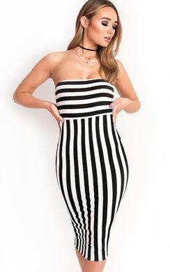 View the Silvee Bandeau Stripe Midi Dress online at iKrush