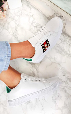 View the Simone Pearl Studded Stripe Trainers online at iKrush