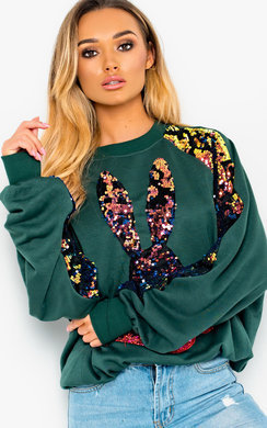 View the Sina Sequin Oversized Jumper online at iKrush