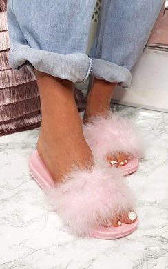 View the Sindy Faux Fur Feather Sliders online at iKrush