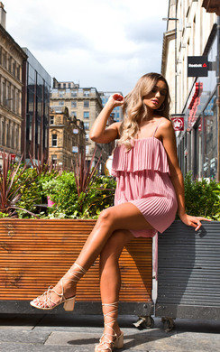 View the Skye Pleated Overlay Playsuit online at iKrush