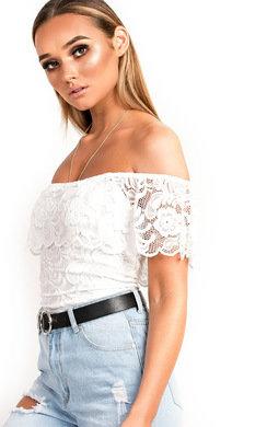 View the Sofia Bardot Lace Bodysuit  online at iKrush