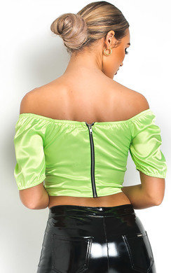 View the Sofiana Ruched Satin Crop Top online at iKrush