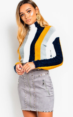 View the Sonia Feather Knit Striped Jumper Mustard online at iKrush