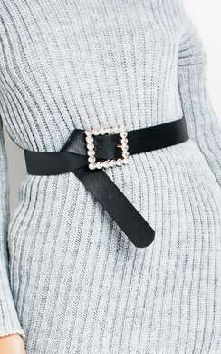 View the Sonya Square Diamante Buckle Belt online at iKrush