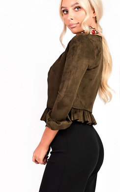 View the Sophia Collarless Faux Suede Frill Jacket online at iKrush