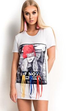 View the Sorcha Satin Slogan Long-lined T-Shirt online at iKrush