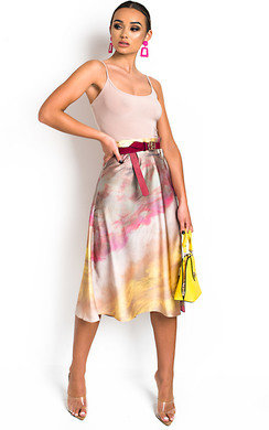 View the Sorrel Satin Tie Dye Midi Skirt online at iKrush