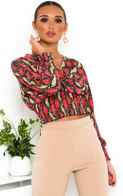 View the Stacey Cross Over Chiffon Blouse  online at iKrush