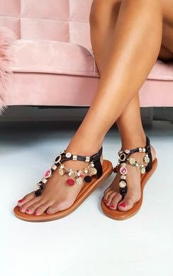 View the Steffi Chain Jewelled T-Bar Sandals online at iKrush