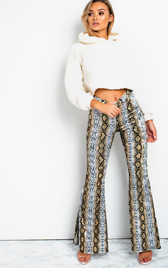 View the Steffi High Waist Flare Velour Trousers  online at iKrush