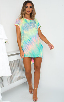 View the Stella Oversized Tie Dye T-Shirt Dress online at iKrush