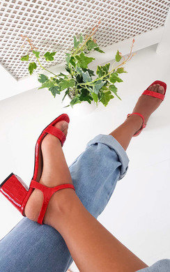 View the Steph Barely There Croc Block Heels online at iKrush