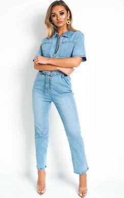 View the Susie Denim Zip Up Jumpsuit online at iKrush
