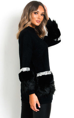 View the Suzi Faux Fur Sequins Embellished Jumper online at iKrush