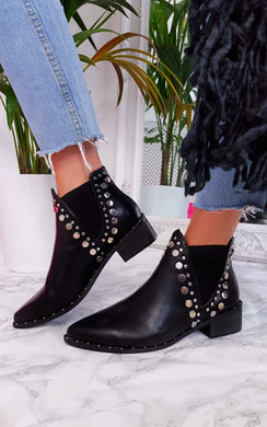 View the Suzie Faux Leather Pointed Stud Boots online at iKrush
