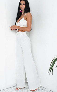 View the Tabby High Waist Belted Wide Leg Trousers online at iKrush