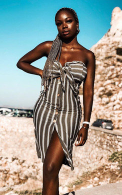 View the Tallia Bandeau Button Up Midi Dress online at iKrush