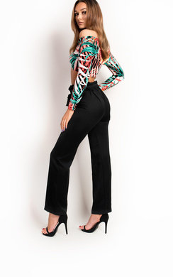 View the Tallulah Satin Feel High Waisted Trousers online at iKrush