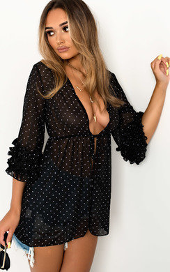 View the Tami Sheer Polka Dot Frill Top online at iKrush