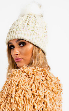 View the Tammy Faux Fur Lined Pom Pom Hat online at iKrush