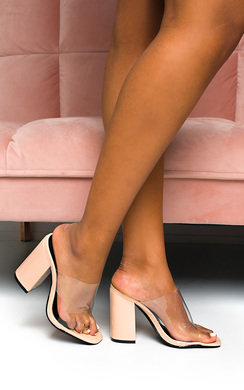 View the Tamra Perspex Peep Toe Mule Heels online at iKrush