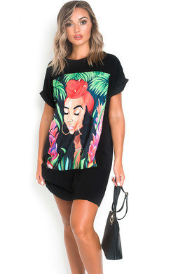View the Tara Graphic Oversized T-Shirt Dress online at iKrush