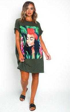 View the Tara Graphic Oversized T-Shirt Dress online at iKrush