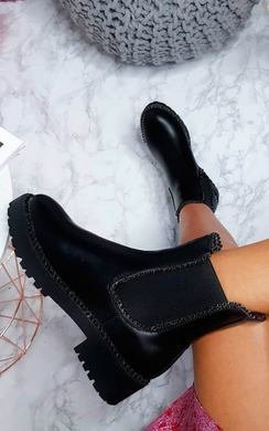 View the Tarra Faux Leather Chunky Boots online at iKrush