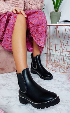 View the Tarra Faux Leather Chunky Heel Boots online at iKrush