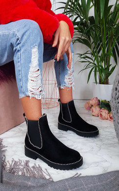View the Tarra Faux Suede Chunky Heel Boots online at iKrush