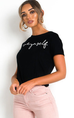View the Tay Slogan Stretch T-shirt online at iKrush