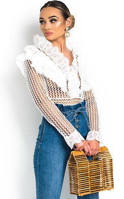 View the Taylor Crochet Frill Long Sleeved Top  online at iKrush