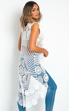 View the Taylor Crochet High Low Midi Dress online at iKrush