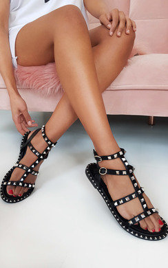 View the Teegan Ankle Strap Studded Sandals online at iKrush