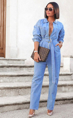 View the Teegan Denim Jumpsuit online at iKrush