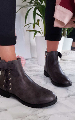 View the Teegan Lace Up Detail Ankle Boots online at iKrush