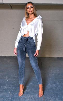 View the Teegan Tie Waist Skinny Jeans online at iKrush