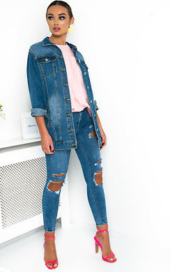 View the Terri Embellished Long-lined Denim Jacket online at iKrush