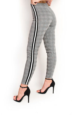 View the Tess Checked Side Stripe Trousers online at iKrush