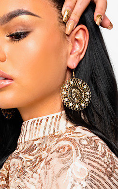 View the Tessa Statement Coin Drop Earrings  online at iKrush